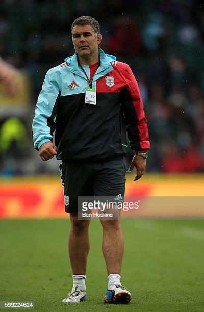 Harlequins coach Nick Easter looks on ahead of the Aviva Premiership match between Harlequins and Bristol at Twickenham Stadium on September 3 2016...
