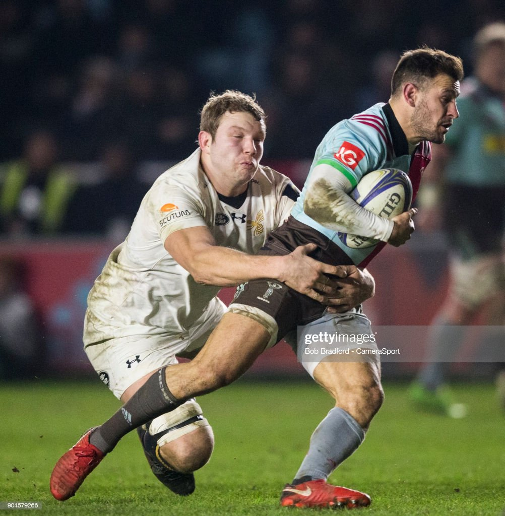 Harlequins' Danny Care is tackled by Wasps' Joe Launchbury during the European Rugby Champions Cup match between Harlequins and Wasps at Twickenham Stoop on January 13, 2018 in London, England.