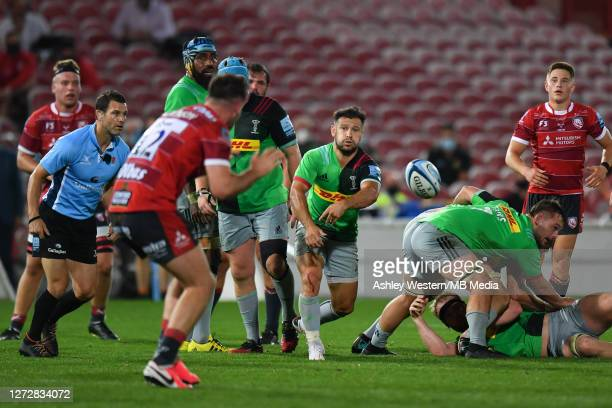 Harlequins' Danny Care passes during the Gallagher Premiership Rugby match between Gloucester Rugby and Harlequins at Kingsholm Stadium on September...