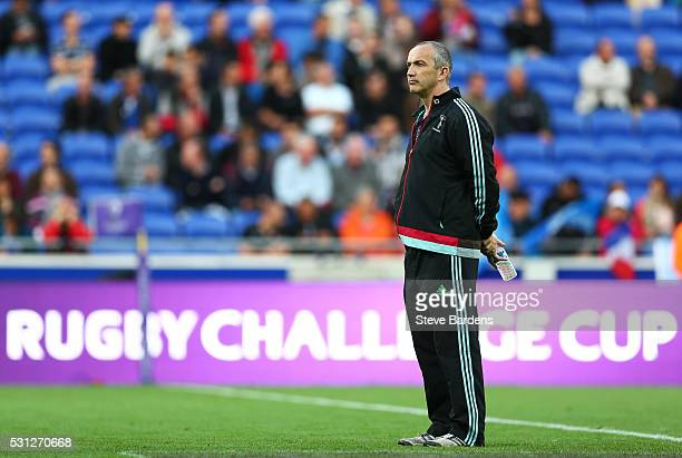 Harlequins Director of Rugby Conor O'Shea looks on as his team warms up prior to kickoff during the European Rugby Challenge Cup Final match between...