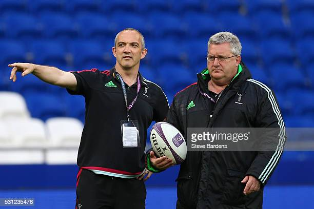 Harlequins Director of Rugby Conor O'Shea speaks with John Kingston the Harlequins head coach prior to kickoff during the European Rugby Challenge...