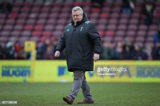 Harlequins Director of Rugby John Kingston looks on prior to the Aviva Premiership match between Harlequins and Bath Rugby at Twickenham Stoop on...