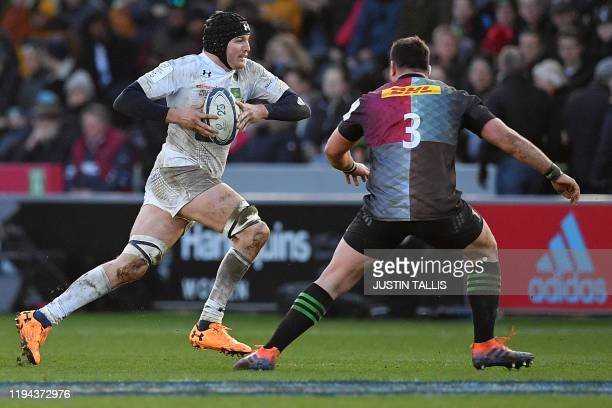Harlequins' English prop Will Collier vie with Clermont's French number 8 Arthur Iturria during the European Rugby Champions Cup first round, pool 3,...