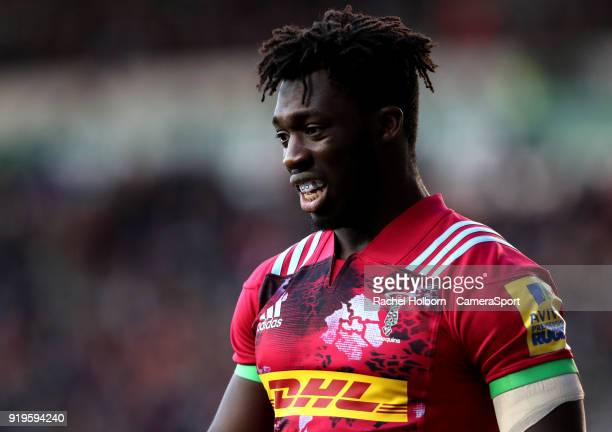 Harlequins Gabriel Ibitoye atLeicester Tigers during the Aviva Premiership match between Leicester Tigers and Harlequins at Welford Road on February...