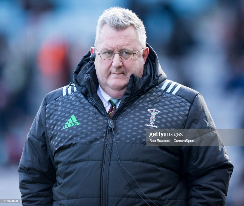 Harlequins Head Coach John Kingston during the Aviva Premiership match between Harlequins and Wasps at Twickenham Stoop on February 11, 2018 in London, England.