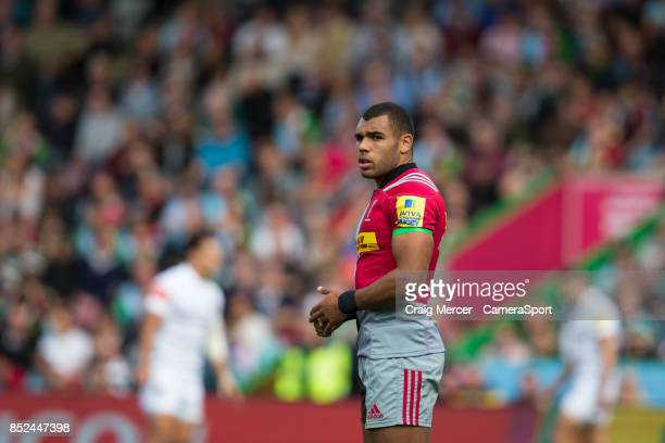 Harlequins' Joe Marchant during the Aviva Premiership match between Harlequins and Leicester Tigers at Twickenham Stoop on September 23 2017 in...