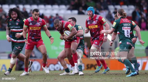 Harlequins' Kyle Sinckler during the Aviva Premiership match between Leicester Tigers and Harlequins at Welford Road on February 17 2018 in Leicester...