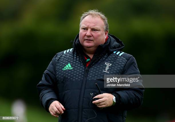 Harlequins Ladies CoHead Coach Gary Street prior to the Tyrrells Premier 15s match between Harlequins Ladies and DMP Sharks at Surrey Sports Park on...