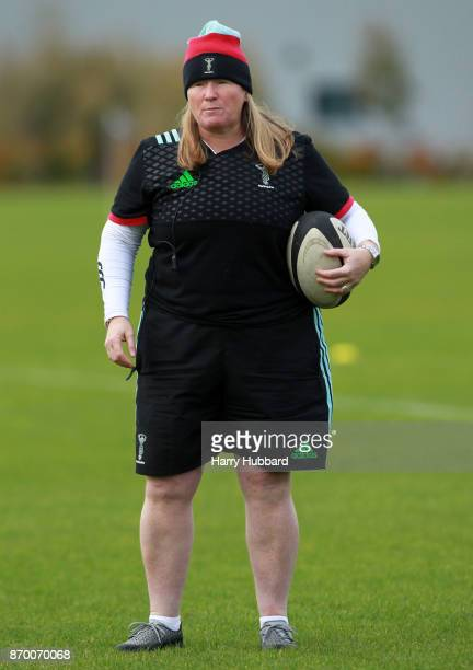 Harlequins Ladies CoHead Coach Karen Findlay before the Tyrrells Premier 15s match between Harlequins Ladies and GloucesterHartpury Woman's RFC at...