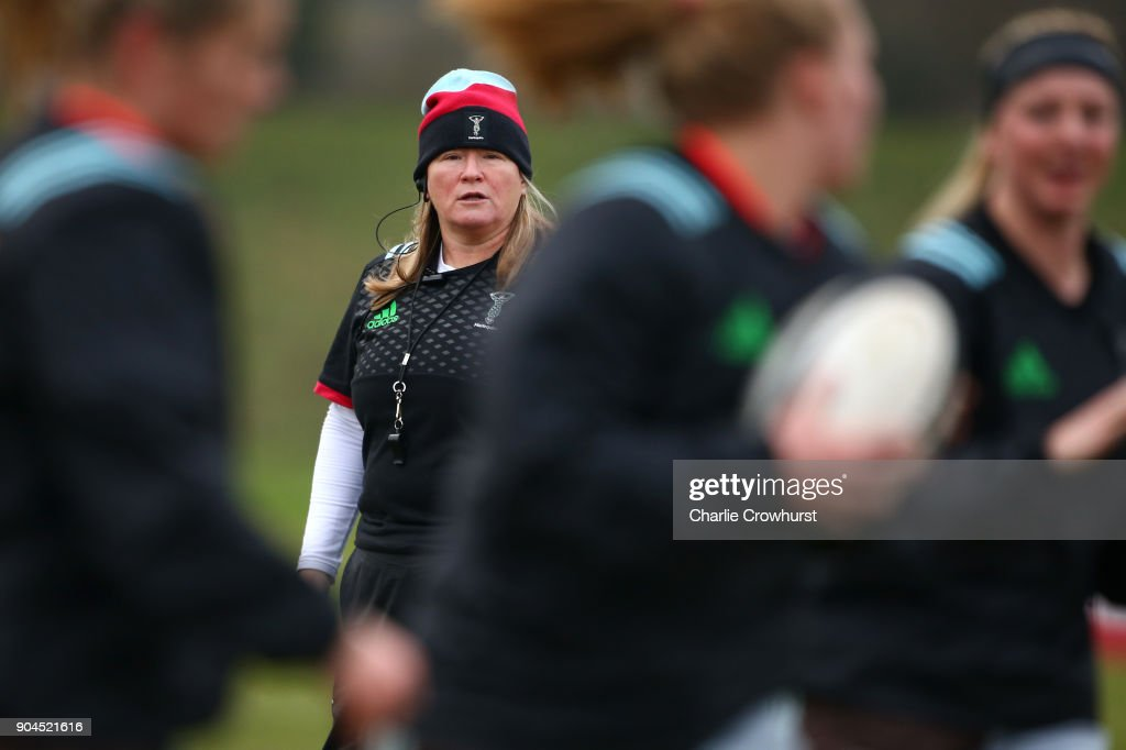 Harlequins ladies Co-Head Coach Karen Findlay gives orders during the warm up during the Harlequins Ladies v Loughborough Lightning Tyrrells Premier 15s match at Surrey Sports Park on January 13, 2018 in Guildford, England.