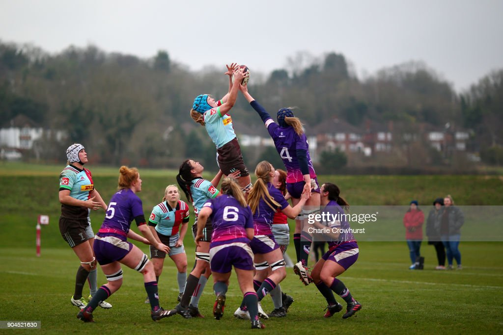 Harlequins ladies Fiona Fletcher challenges at the line out during the Harlequins Ladies v Loughborough Lightning Tyrrells Premier 15s match at Surrey Sports Park on January 13, 2018 in Guildford, England.