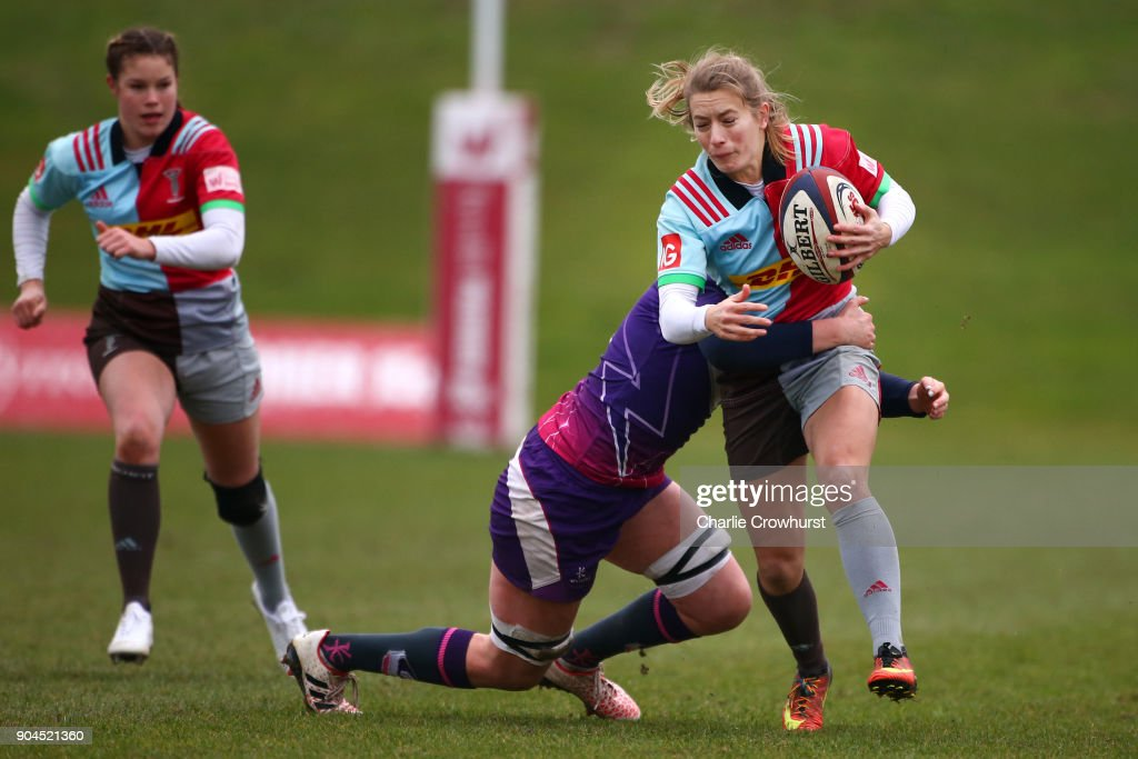 Harlequins ladies Fiona Pocock looks to attack during the Harlequins Ladies v Loughborough Lightning Tyrrells Premier 15s match at Surrey Sports Park on January 13, 2018 in Guildford, England.