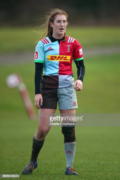 Harlequins Ladies Izzy Mayhew during the Tyrrells Premier 15s match between Harlequins Ladies and Wasps FC Ladies at Surrey Sports Park on December 9...
