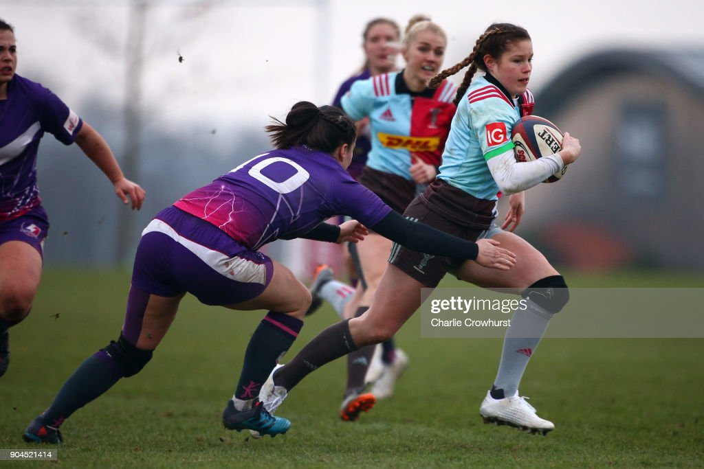 Harlequins ladies Jessica Breach looks to attack during the Harlequins Ladies v Loughborough Lightning Tyrrells Premier 15s match at Surrey Sports Park on January 13, 2018 in Guildford, England.