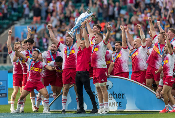 LONDON, ENGLAND - JUNE 26: Harlequins' lift the trophy during the Gallagher Premiership Rugby Final between Exeter Chiefs and Harlequins at Twickenham Stadium on June 26, 2021 in London, England. (Photo by Bob Bradford - CameraSport via Getty Images)
