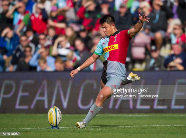 Harlequins' Marcus Smith kicks a penalty during the Aviva Premiership match between Harlequins and Gloucester Rugby at Twickenham Stoop on September...