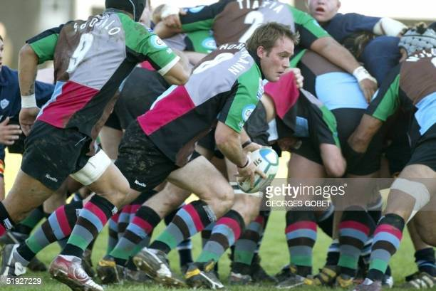 Harlequin's Nr8 Kai Horstmann clears the ball during their rugby Union European Cup match London vs Castres 08 January 2005 at the stade Pierre...