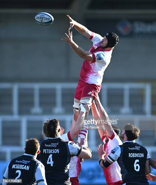 Harlequins player Stephan Lewies wins a lineout ball during the Gallagher Premiership Rugby match between Newcastle Falcons and Harlequins at...