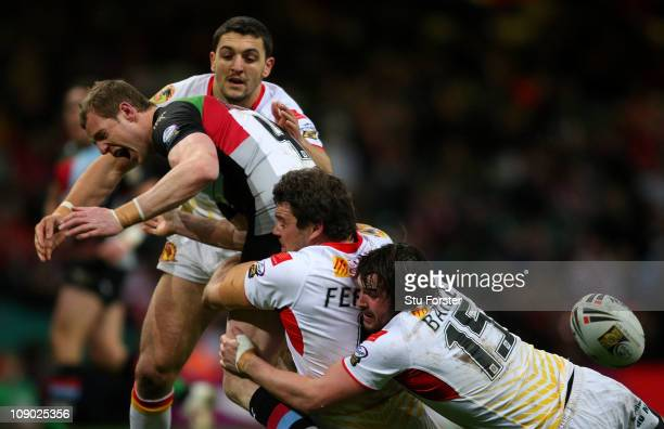 Harlequins RL player David Howell runs into the Catalan Dragons defence during the Engage Super League match between Catalans Dragons and Harlequins...