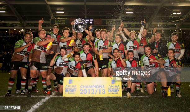 Harlequins team celebrate after winning the Aviva 'A' league match between Harlequins and Saracens Storm at the Twickenham Stoop on December 17 2012...