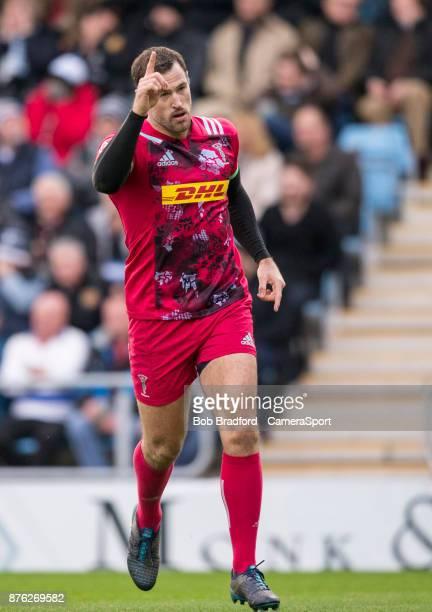 Harlequins' Tim Visser celebrates scoring his sides second try during the Aviva Premiership match between Exeter Chiefs and Harlequins at Sandy Park...