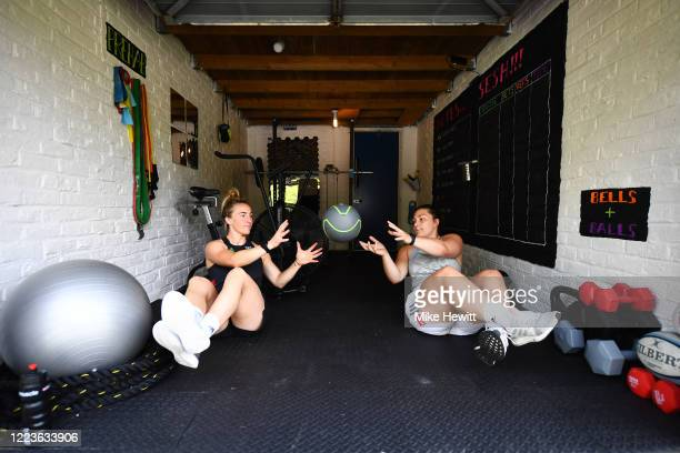 Harlequins Women's Amy Cokayne and Bethan Dainton training at home during the coronavirus pandemic on May 08, 2020 in Guildford, England. The country...