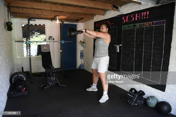 Harlequins Women's Amy Cokayne training at home during the coronavirus pandemic on May 08, 2020 in Guildford, England. The country continued...