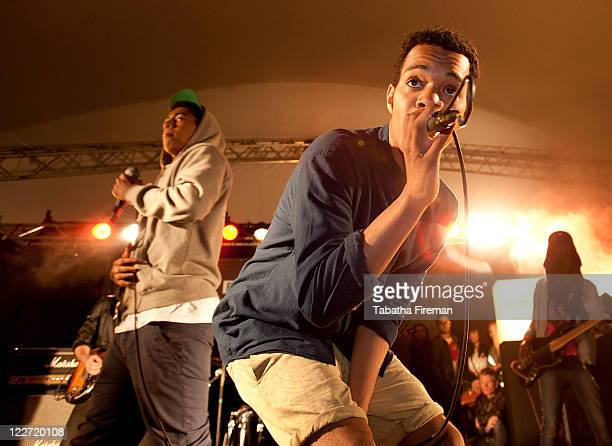 Harley Alexander and Jordan Stephens of Rizzle Kicks perform on the BBC Introducing Stage during day three of Reading Festival at Richfield Avenue on...