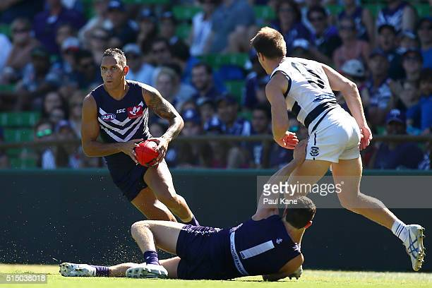 Harley Bennell of the Dockers looks to pass the ball during the NAB Challenge match between the Fremantle Dockers and the Geelong Cats at Domain...