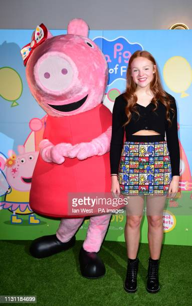 Harley Bird arriving for the gala screening of Peppa Pig Festival of Fun at Vue Leicester Square London