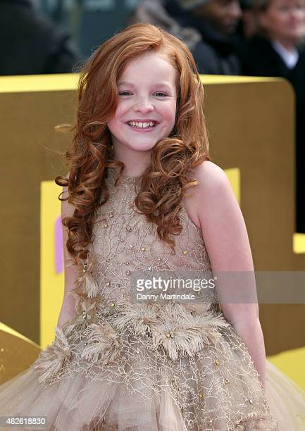Harley Bird attends the premeire of 'Peppa Pig The Golden Boots' at Odeon Leicester Square on February 1 2015 in London England