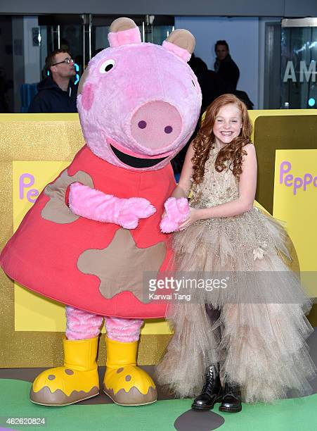 Harley Bird attends the UK premiere of Peppa Pig The Golden Boots at Odeon Leicester Square on February 1 2015 in London England
