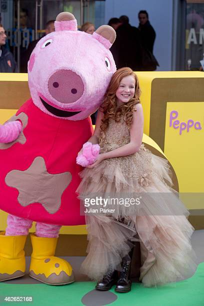 Harley Bird attends the UK premiere of 'Peppa Pig The Golden Boots' at Odeon Leicester Square on February 1 2015 in London England