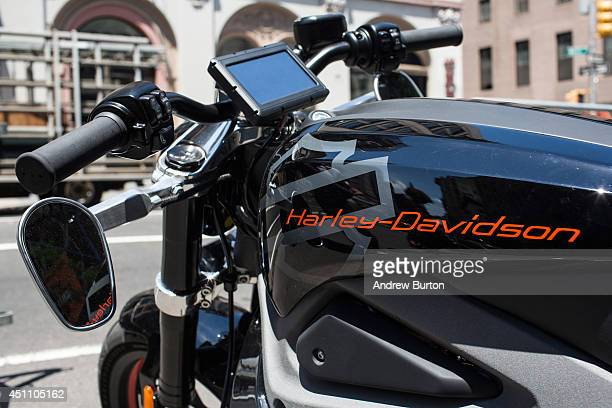 Harley Davidson Livewire motorcycle Harley Davidson's first electric bike sits on display outside the Harley Davidson Store on June 23 2014 in New...
