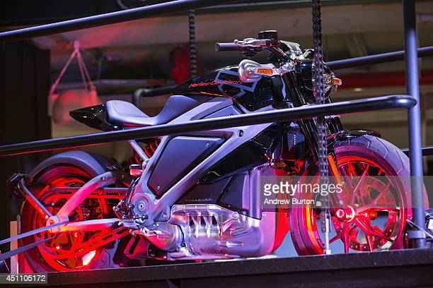 Harley Davidson Livewire motorcycle Harley Davidson's first electric bike sits on display inside the Harley Davidson Store on June 23 2014 in New...