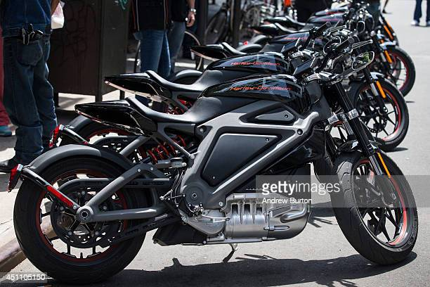 Harley Davidson Livewire motorcycles Harley Davidson's first electric bike sits on display outside the Harley Davidson Store on June 23 2014 in New...