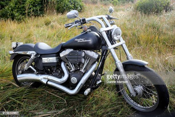 Harley Davidson parked up ahead of the Classic Motorcycle Mecca NZ Bluff Hill Climb Champs on February 8 2018 in Invercargill New Zealand