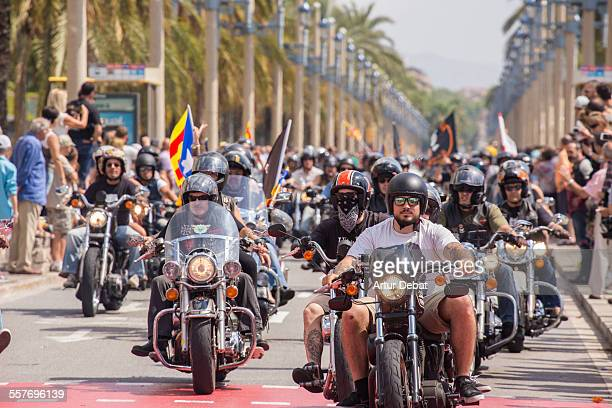 Harley Davidson riders on the Barcelona city streets Catalonia Europe July 6th of 2014