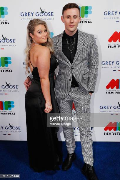 Harley Fothergill poses with partner Stephanie Gray ahead of the World Premiere of Jungle at the opening night of the 66th Melbourne International...
