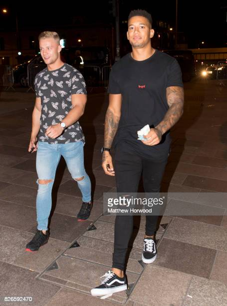 Harley Judge and Simon Searles from the ITV reality TV series 'Love Island' seen arriving at Walkabout on August 4 2017 in Cardiff Wales