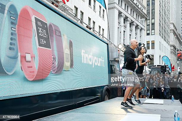 Harley Pasternak and Jordana Brewster partecipate in the Fitbit IPO celebration with Harley Pasternak and Jordana Brewster at New York Stock Exchange...