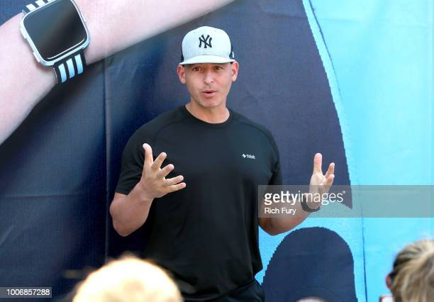 Harley Pasternak speaks to participants during a workout hosted by Fitbit and PH5 on July 28 2018 in Los Angeles California