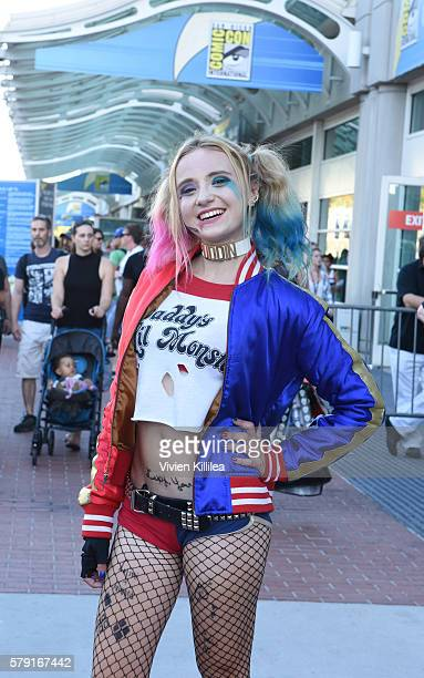 Harley Quinn cosplayer attends ComicCon International 2016 on July 20 2016 in San Diego California