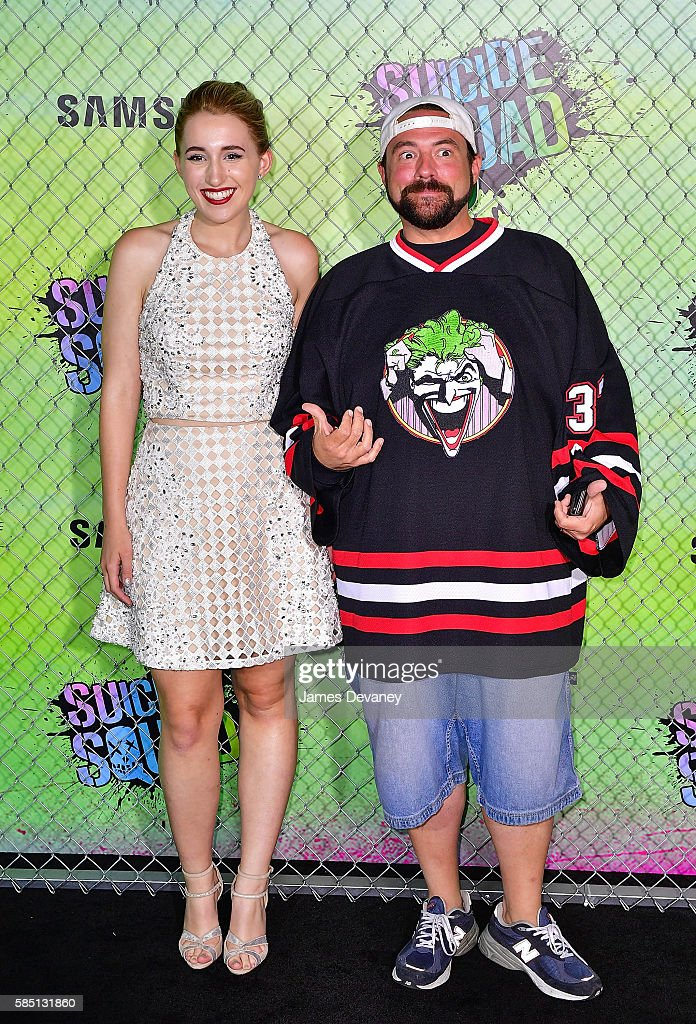 Harley Quinn Smith and Kevin Smith attend the 'Suicide Squad' premiere at The Beacon Theatre on August 1, 2016 in New York City.