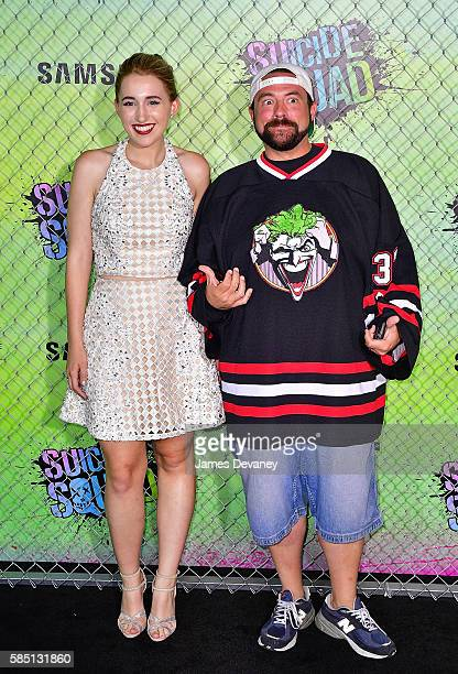 Harley Quinn Smith and Kevin Smith attend the 'Suicide Squad' premiere at The Beacon Theatre on August 1 2016 in New York City