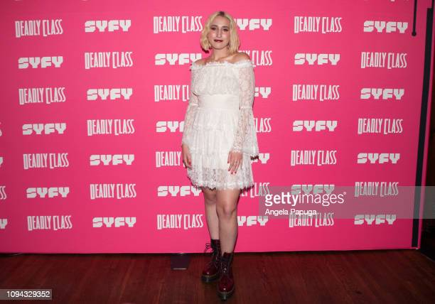 Harley Quinn Smith attends the premiere week screening of SYFY's 'Deadly Class' hosted by Kevin Smith at The Wilshire Ebell Theatre on January 14...