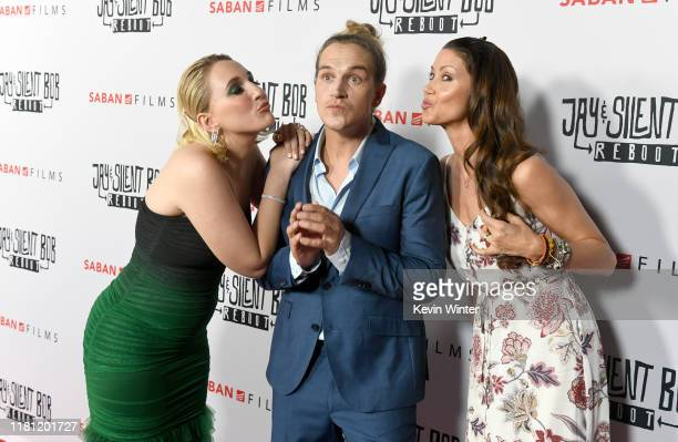 Harley Quinn Smith Jason Mewes and Shannon Elizabeth arrive at the premiere of Saban Films' Jay Silent Bob Reboot at TCL Chinese Theatre on October...