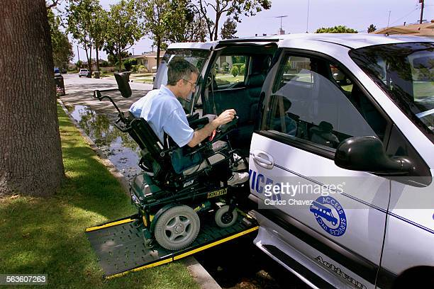 Harley Rubenstein gets into the paratransit van that will take him to a doctors appointment in Cerritos about 20–minutes away from his home in Long...