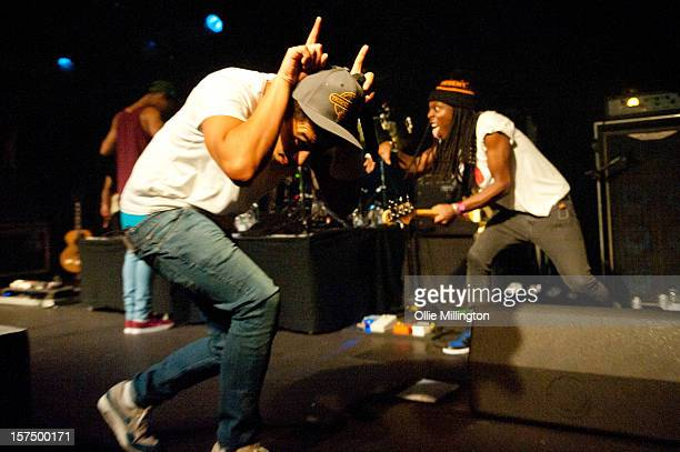 Harley 'Sylvester' AlexanderSule and Herman Stephens of Rizzle Kicks perform onstage during their December 2012 UK tour at Rock City on December 3...
