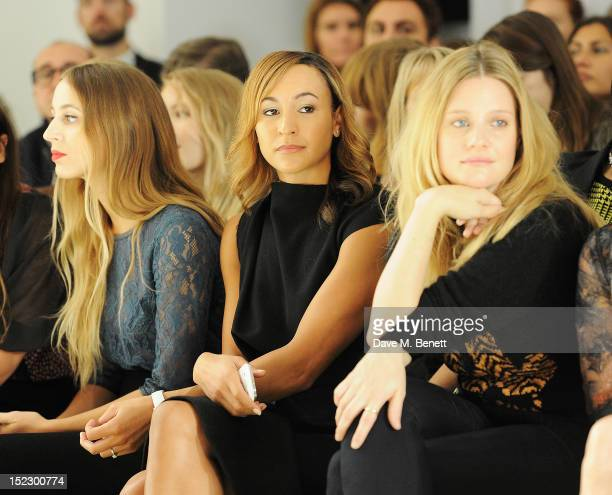 Harley Viera Newton Jessica Ennis and Romola Garai sit in the front row during the Mulberry Spring/Summer 2013 Show during London Fashion Week at...